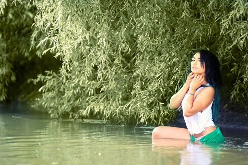 girl water vegetation