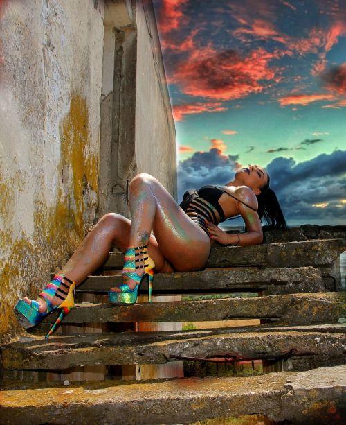 girl stairs sensual