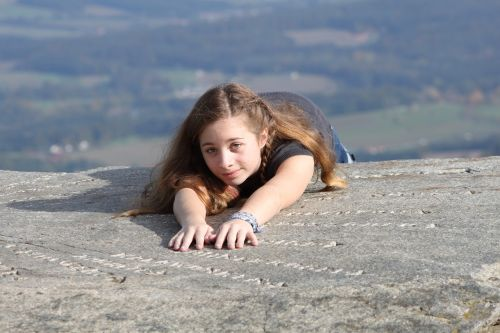 girl mountain abyss