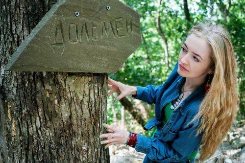 girl summer forest