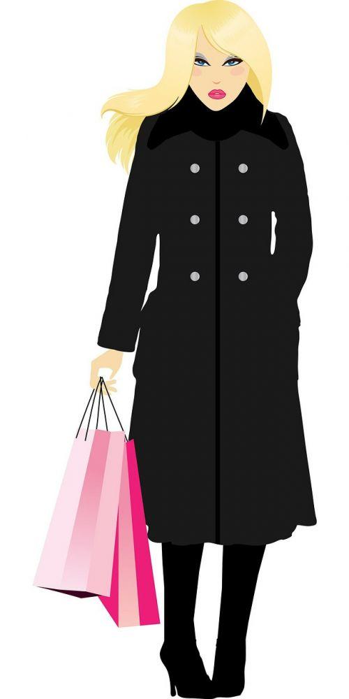 mergaitė,moteris,Lady,Moteris,apsipirkimas,pirkinių maišeliai,juoda,kailis,Iliustracijos