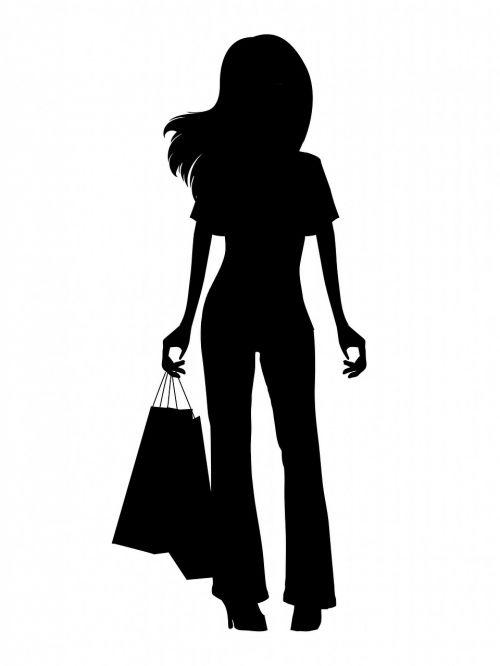mergaitė,moteris,jaunas,Moteris,Lady,madinga,madinga,juoda,siluetas,apsipirkimas,pirkinių maišeliai,menas,balta,fonas