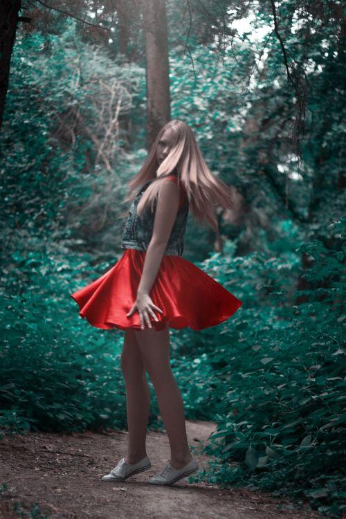 girl red skirt forest