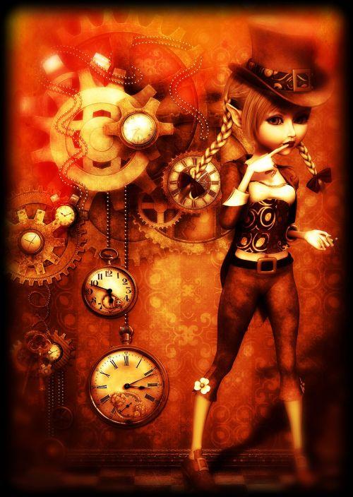 mergaitė,steampunk,vintage,skrybėlę,mechanizmas,laikrodis,3d