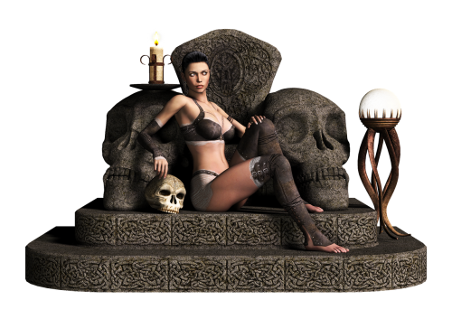 girl,throne,fantasy,stone,candle,skull,3d,png