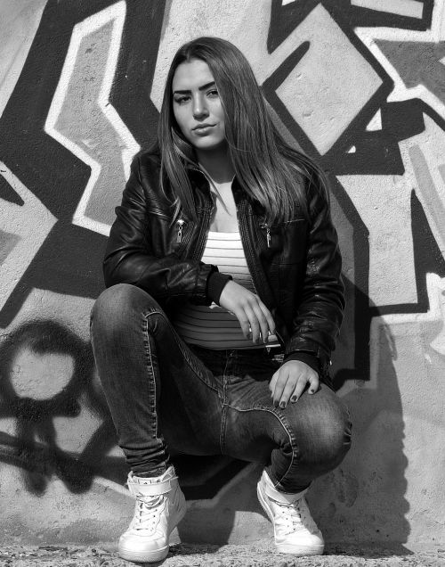 girl graphite black and white