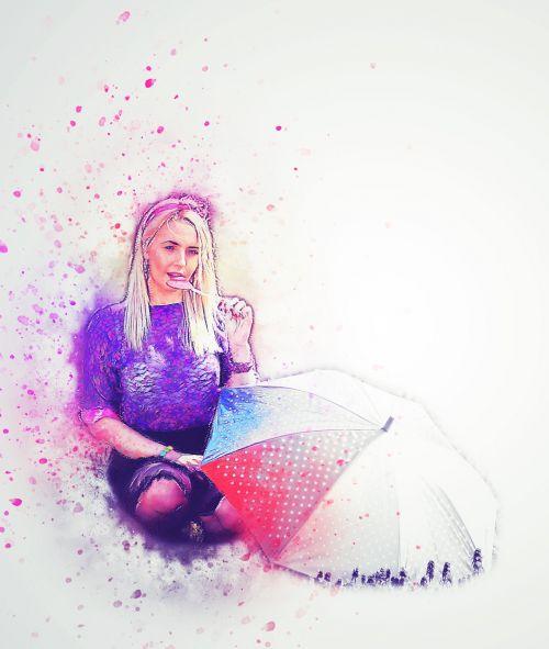 girl umbrella lollipop