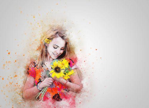girl sunflower happy