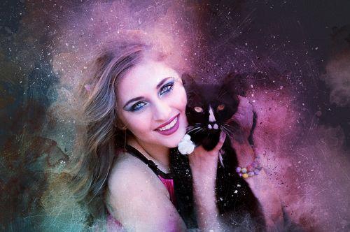girl black cat long hair