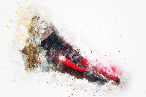 girl red socks lying down