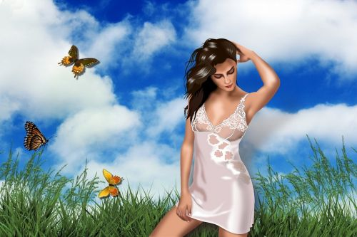 girl butterfly handling