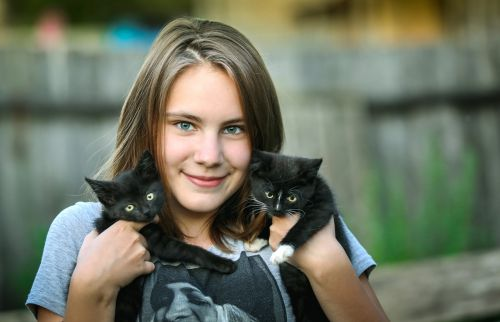 girl,kittens,happiness,smile,delight,care,portrait,hug,love,cat,cute,pet,darling,beautiful,pets