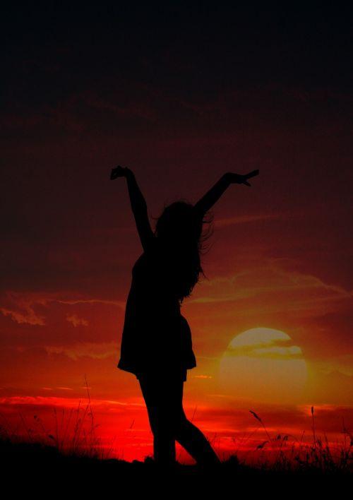girl shadows sunset