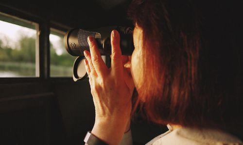girl woman binoculars