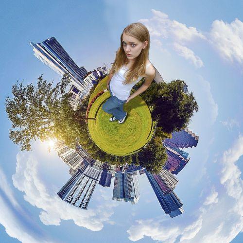 girl earth buildings