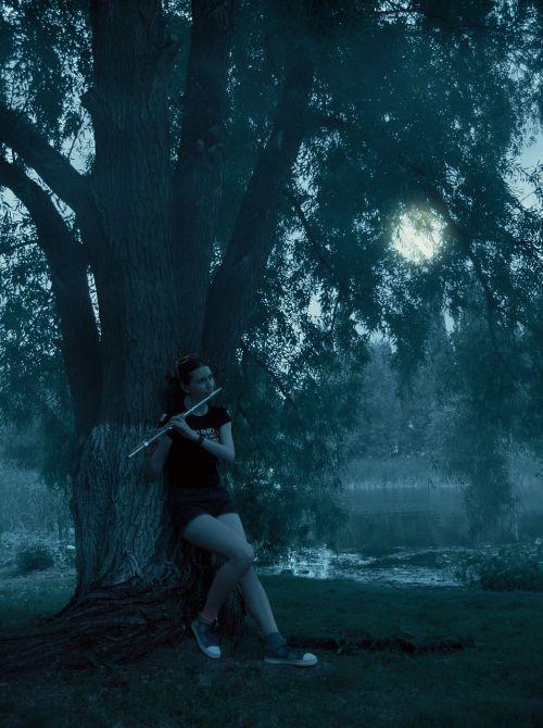 girl flute moon