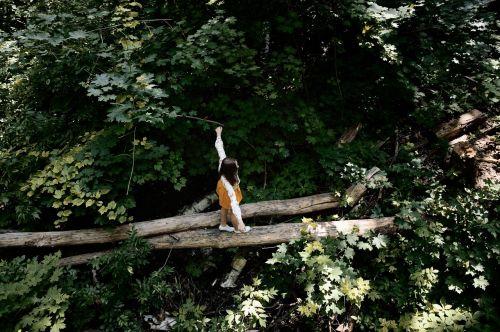 girl balance beam stroll