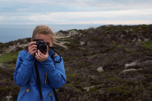 girl woman taking photo