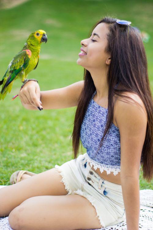 girl parrot animal