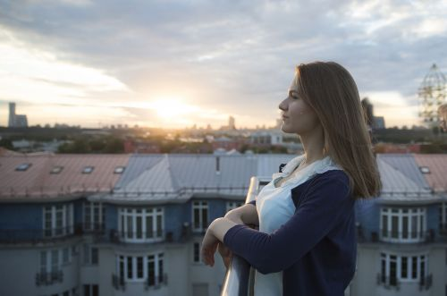 girl moscow sunset