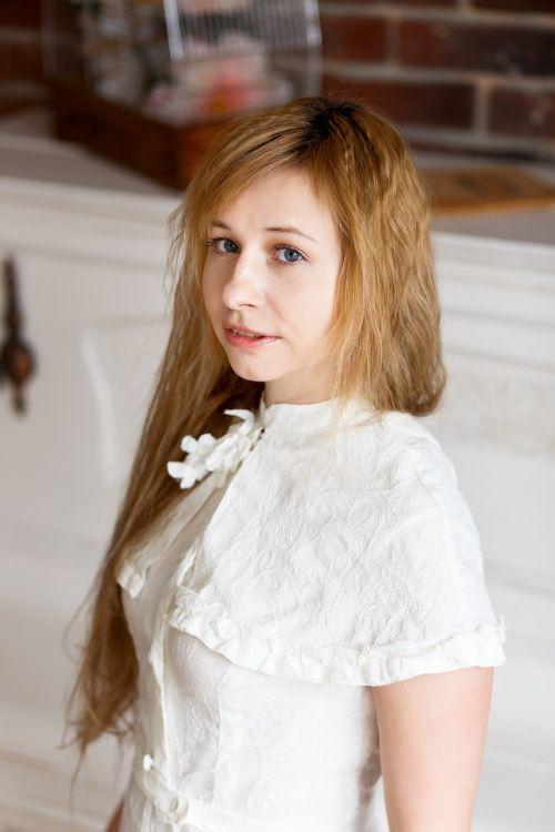 girl portrait white dress