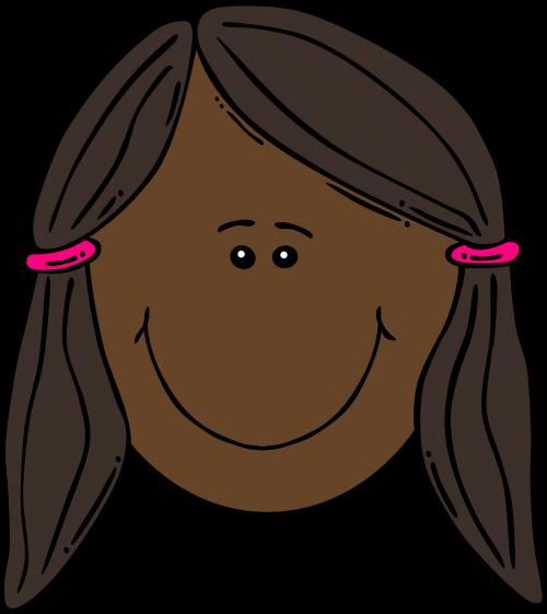 girl face brown hair