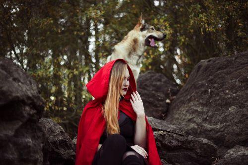 girl little red riding hood dog