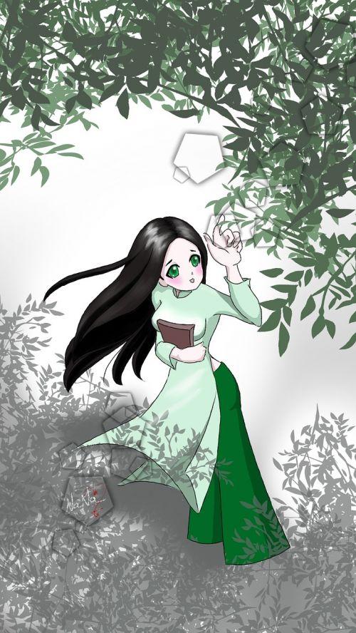 girl ao dai vietnamese