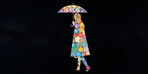 girl  flower  umbrella