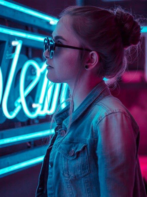 girl  neon lights  light