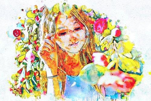 girl  portrait  flowers