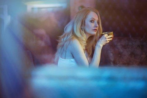 girl  blonde  café