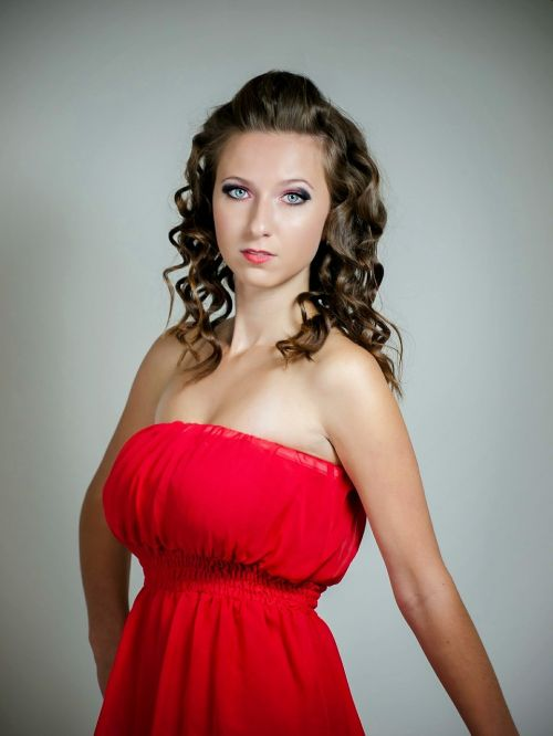 girl woman in red dress
