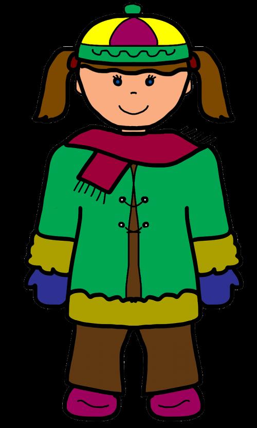 girl cartoon winter
