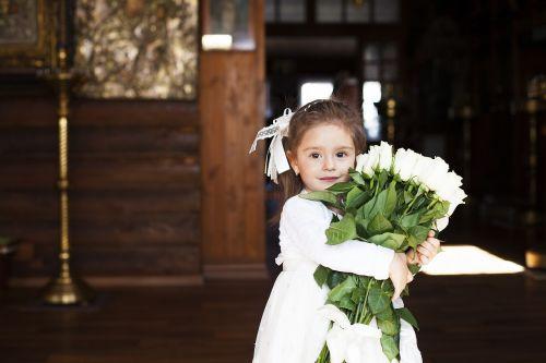 girl beautiful flowers
