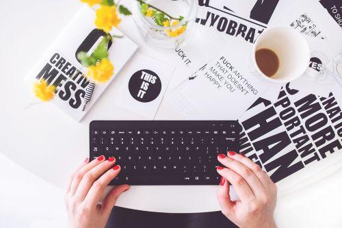 girl woman typing