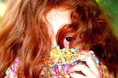 girl red hair hidden