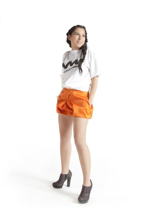 girl orange short