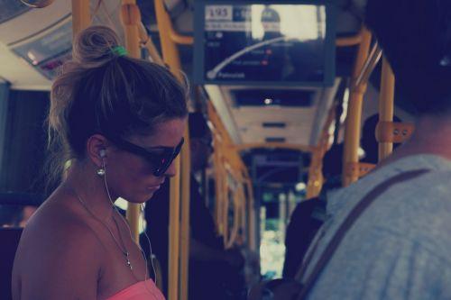 girl woman bus