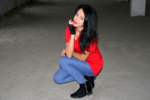 girl black hair seduction