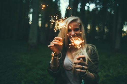 girl sparklers fireworks
