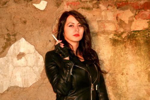 girl leather jacket cigarette