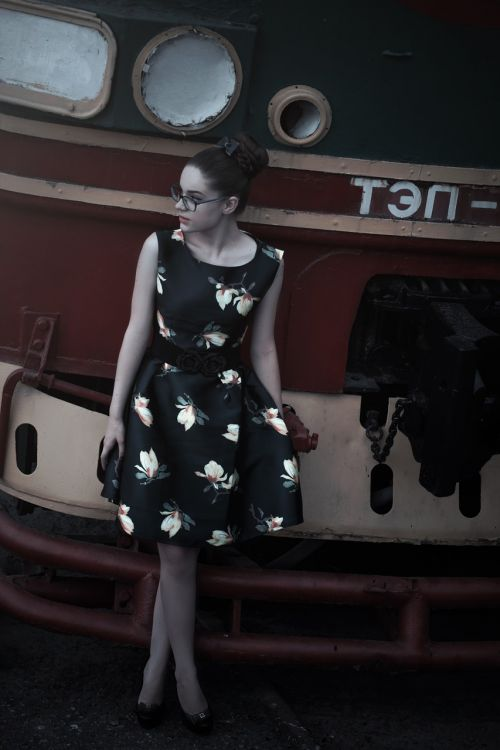 girl at the station train pin up girl