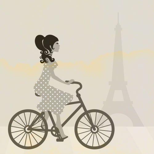 Girl Cycling In Paris