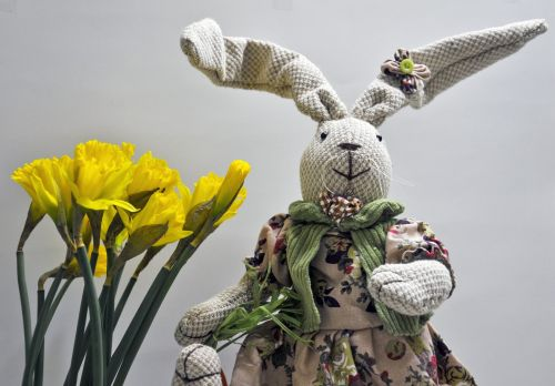 Girl Easter Bunny With Daffodils