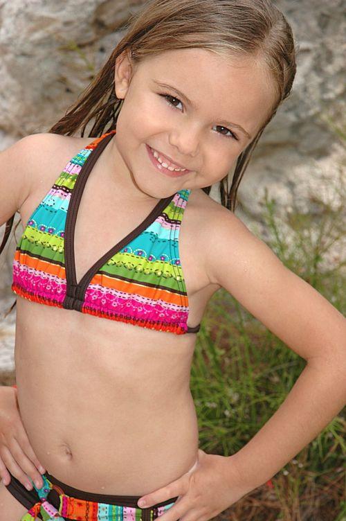 girl in bikini colorful bikini a smile