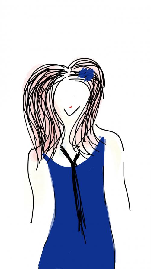 girl in blue long hair girl