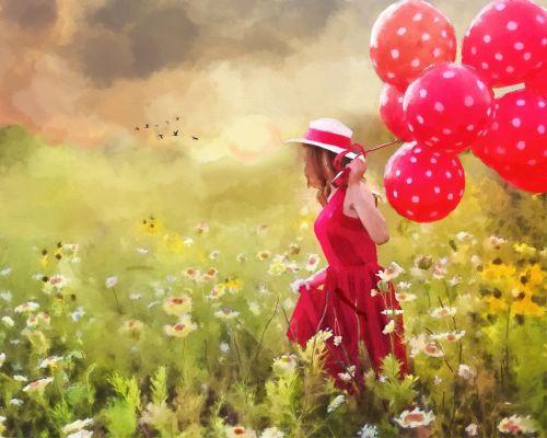 Girl In Field Of Flowers