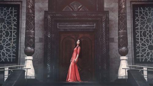 girl in red dress long dress posture