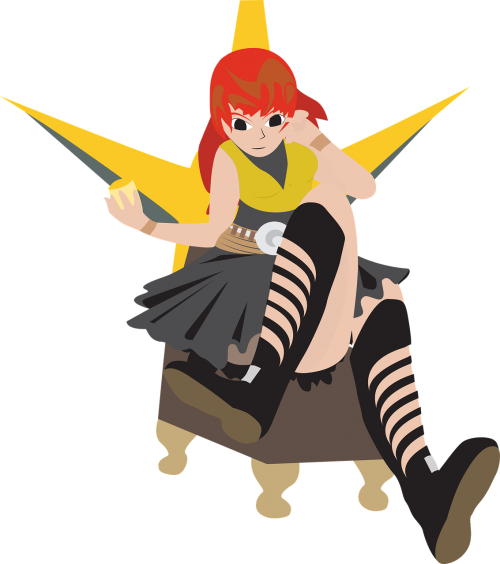 girl sitting on a throne red head woman sitting svg file